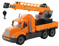 Детская игрушка Polesie Майк, автомобиль-кран с поворотной платформой в сеточке Помаранчевий (55613)
