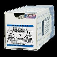 Поліпропілен монофіламентний фіолетовий USP (EP): 1(4) 0,75м, Ріжуча голка 40мм 1/2, OPUSMED®