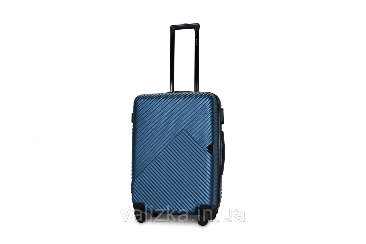 Средний пластиковый чемодан синий Fly 2702