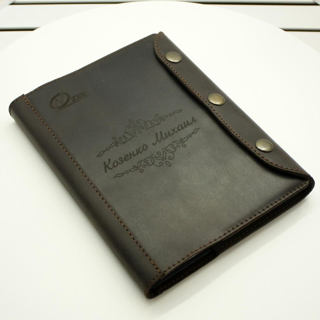 Кожаный блокнот M. Ежедневник с кожаной обложкой А5. Лазерная гравировка изображений