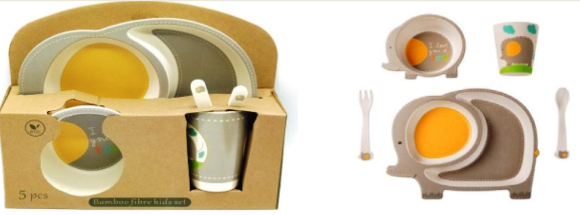 """Набор посуды из бамбука """"Слоник"""" 5 предметов, фото 2"""