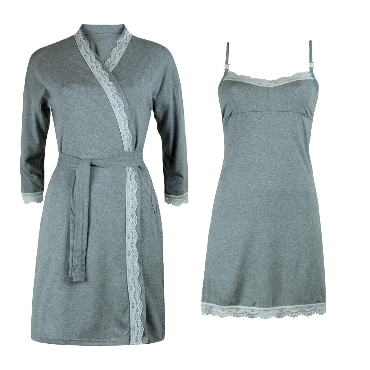 Комплект хлопковый двойка халат и ночная рубашка для беременных и кормящих
