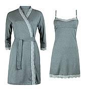 Комплект бавовняний двійка халат, нічна сорочка для вагітних і годуючих