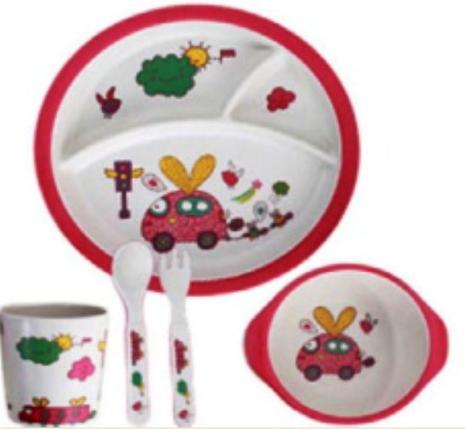 "Набор посуды из бамбука ""Машинка"" 5 предметов, фото 2"