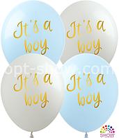 """Воздушные шары """"It's a Boy"""" 12""""(30 см) пастель В упак: 100шт ТМ Арт «SHOW»"""