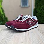 Мужские замшевые кроссовки New Balance 574 (бордовые) 10203, фото 5