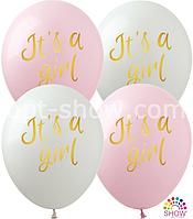 """Воздушные шары """"It's a Girl"""" 12""""(30 см) пастель В упак: 100шт ТМ Арт «SHOW»"""