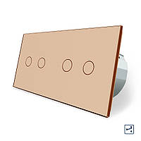 Сенсорный проходной выключатель Livolo 4 канала (2-2) золото стекло (VL-C702S/C702S-13), фото 1
