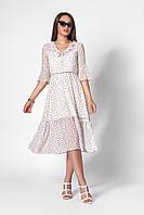 Летнее женское шифоновое платье длины миди с отризной талией размер 42,44,46,48