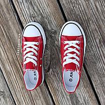 Кеди дитячі червоні конверси на змійці шнурках кросівки в стилі converse червоні дитячі кросівки кеді, фото 3