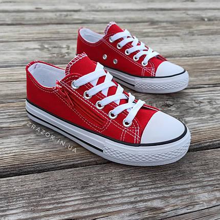 Кеди дитячі червоні конверси на змійці шнурках кросівки в стилі converse червоні дитячі кросівки кеді, фото 2