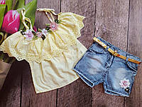 Летний комплект с шортами для девочки Miss Mary (3 года 98 см)