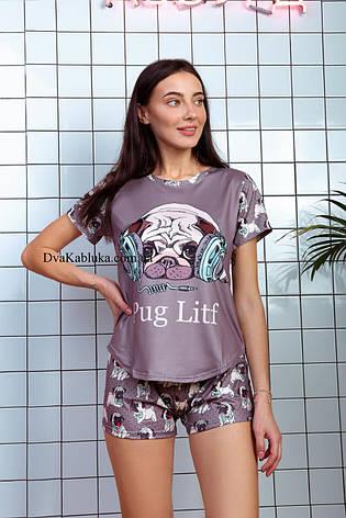 Пижама женская летняя кофейная с принтом животного (Мопс) для дома и сна. Шорты + футболка, хлопковая. S M L, фото 2