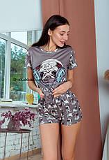 Пижама женская летняя кофейная с принтом животного (Мопс) для дома и сна. Шорты + футболка, хлопковая. S M L, фото 3