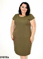 Женское лёгкое летнее платье цвета хаки 58,60,62,64, фото 1