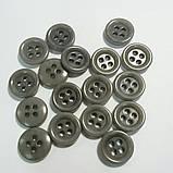Рубашечная пуговица пластиковая, матовая, 11 мм диаметр, цвет серый, фото 2