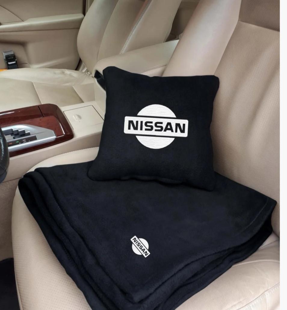"""Автомобильный плед-подушка с вышивкой логотипа """"Hissan"""""""