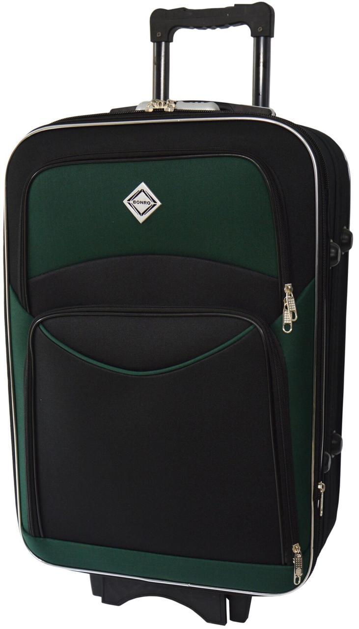 Дорожный чемодан на колесах Bonro Style маленький чёрный с зелёным