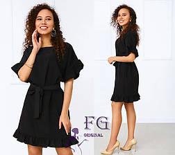 Черное летнее платье мини с воланами на рукавах и пояском, фото 3