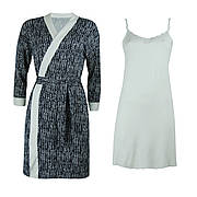 Комплект двійка халат, нічна сорочка для вагітних і годуючих віскоза