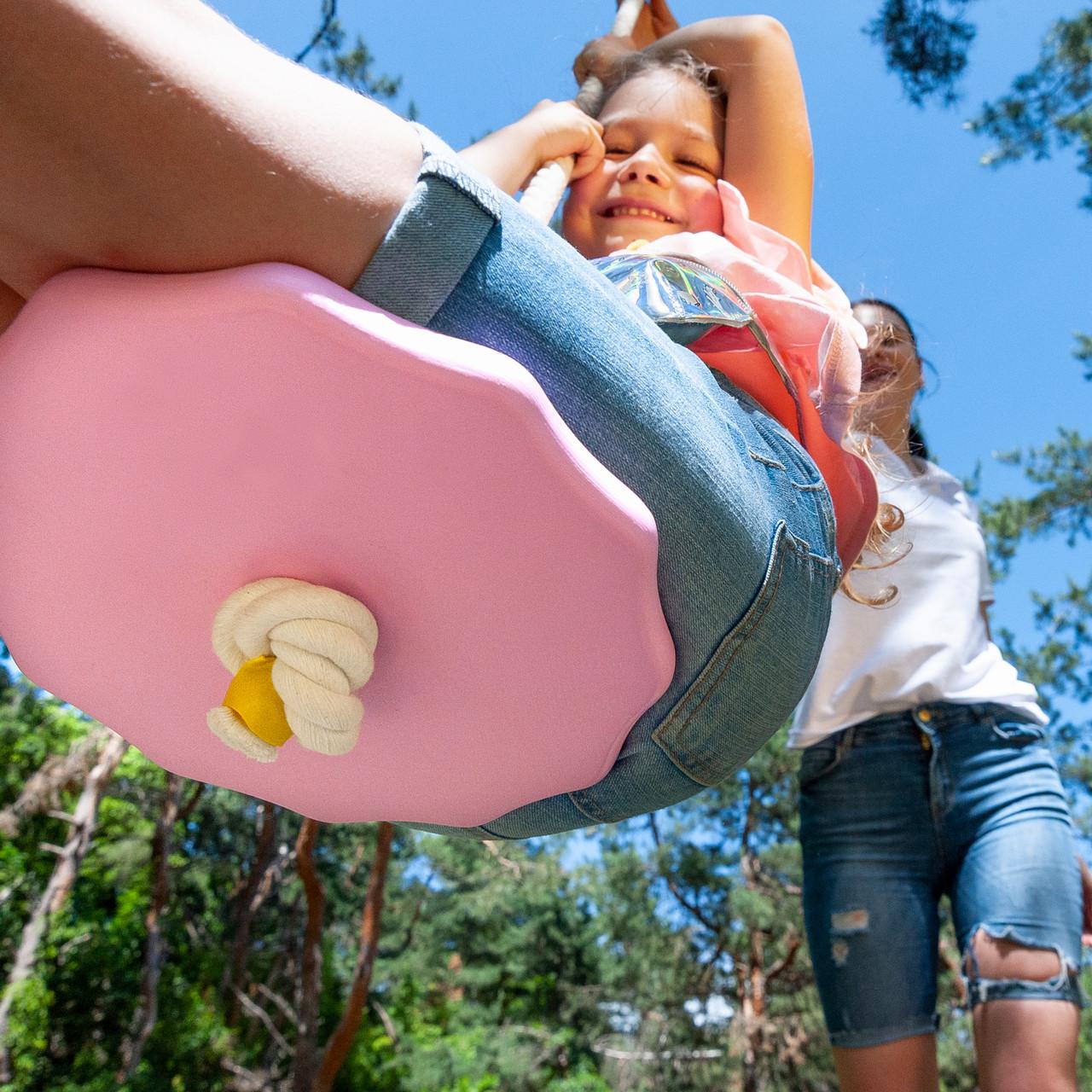 Детские качели из дерева тарзанка качеля подвесная детская  «ЭЛИТ», гимнастическая, для шведской стенки, роза