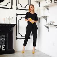 Женский молодежный комбинезон с укороченными брюками в деловом стиле размер