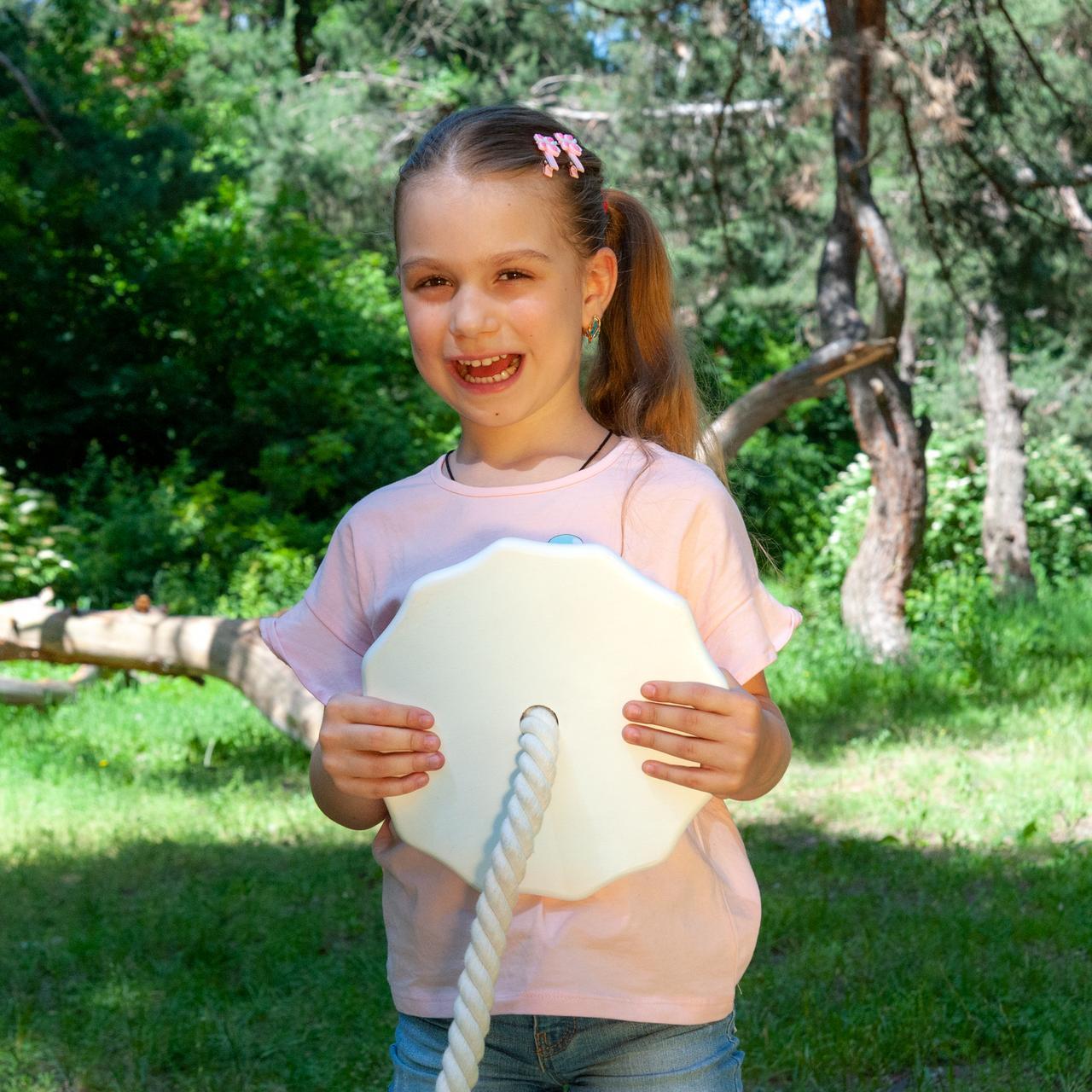 Детские качели из дерева тарзанка качеля подвесная детская  «ЭЛИТ», белая