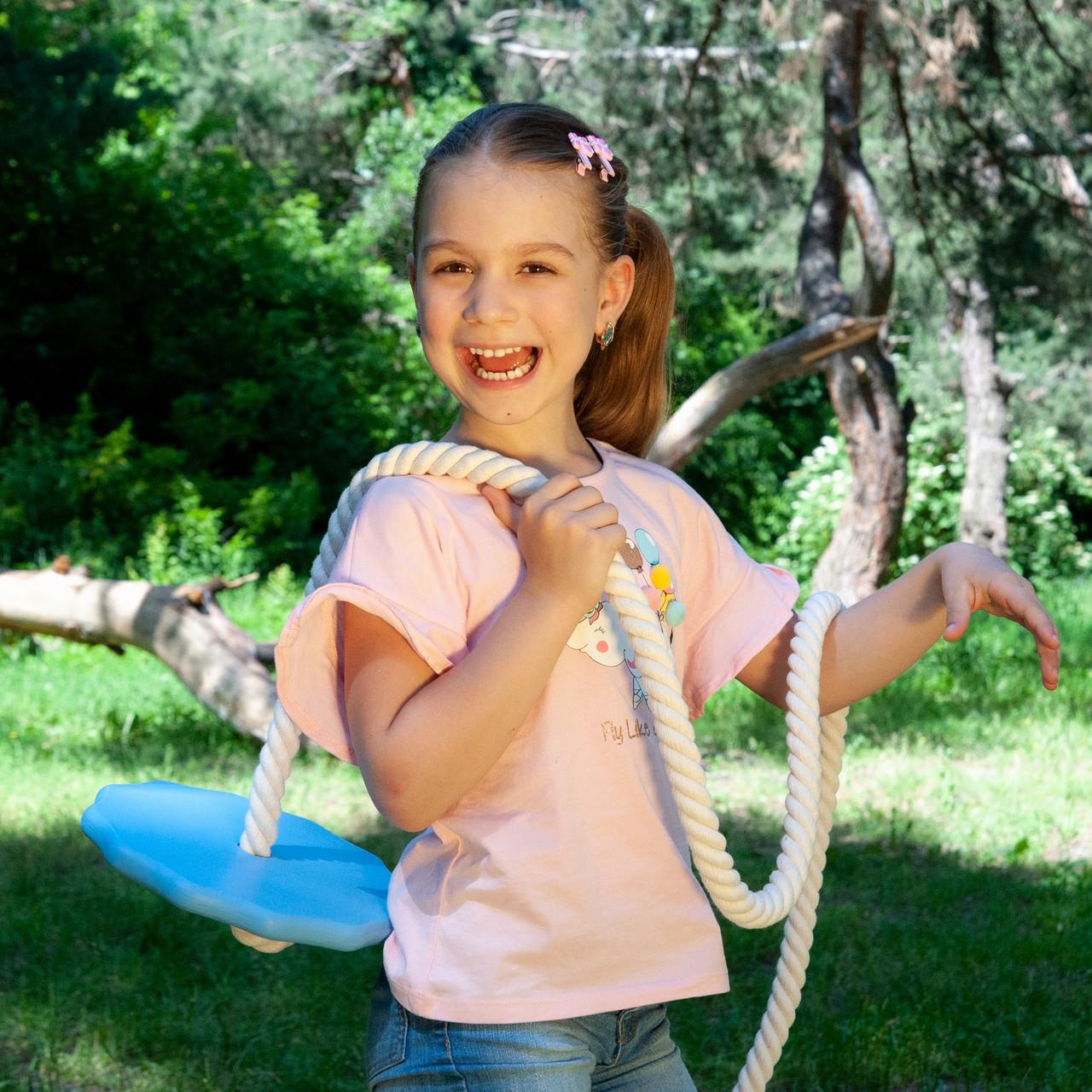 Детские качели из дерева тарзанка качеля подвесная детская «ЭЛИТ», гимнастическая для шведской стенки, лазурь
