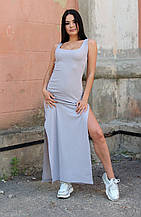 Женское платье макси с разрезом серое