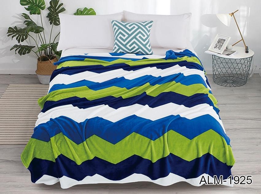 Плед покрывало 160х220 велсофт Зигзаг голубой на кровать, диван