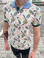 Футболка мужская поло белая с цветочными рисунками и воротником Чоловіча футболка поло світла з квітами