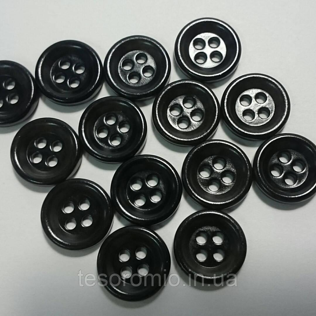 Рубашечная пуговица пластиковая, 11 мм диаметр, черная