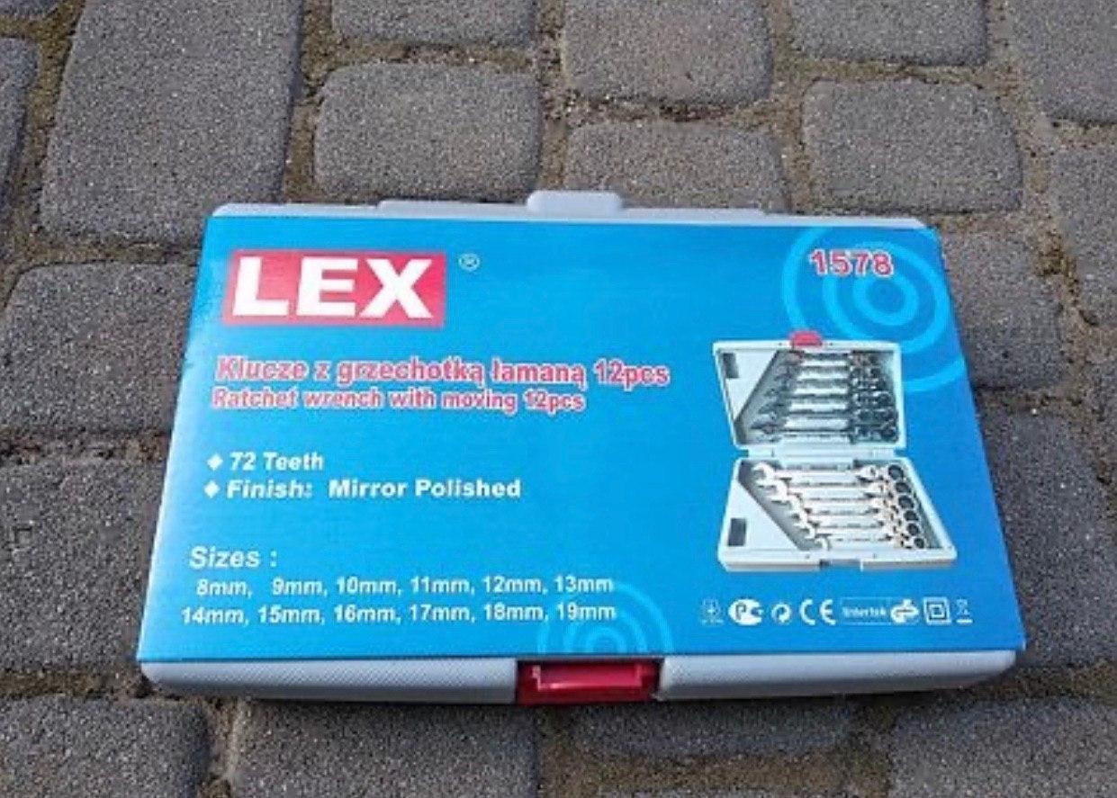 Набор рожково-накидных ключей с трещоткой на кардане LEX 1578 (12 шт)