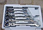 Набор рожково-накидных ключей с трещоткой на кардане LEX 1578 (12 шт), фото 4