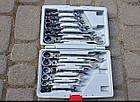 Набор рожково-накидных ключей с трещоткой на кардане LEX 1578 (12 шт), фото 3