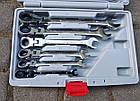 Набор рожково-накидных ключей с трещоткой на кардане LEX 1578 (12 шт), фото 5