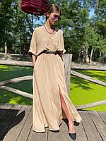 Женское летнее свободное платье в пол с разрезом,размер 42-46