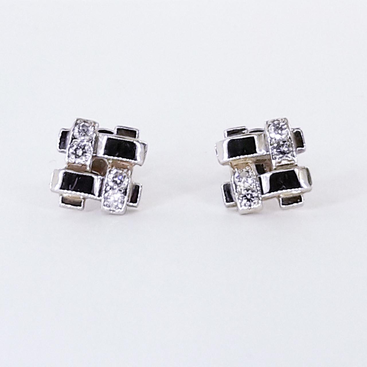 Золотые серьги в белом золоте с бриллиантами, гвоздики/пусеты