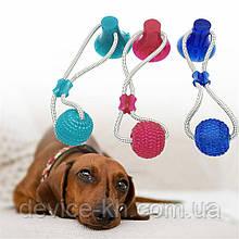 Игрушка для собак Мяч на веревке с присоской Perfect Power Игрушка для домашних животных жевательная