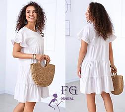 Белое летнее свободное короткое платье с оборками, фото 2