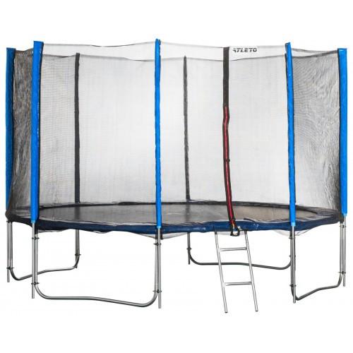 Батут спортивный Atleto 465 см с 5 двойными ногами внешней сеткой для отдыха синий (10 опор сетки лестница)