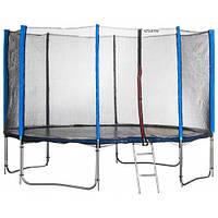 Батут спортивный Atleto 465 см с 5 двойными ногами внешней сеткой для отдыха синий (10 опор сетки лестница), фото 1