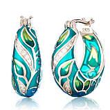 Комплект серебряных украшений  с эмалью ( Серьги , кольцо, подвеска ), фото 4