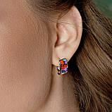 Комплект серебряных украшений  с эмалью ( Серьги , кольцо, подвеска ), фото 7