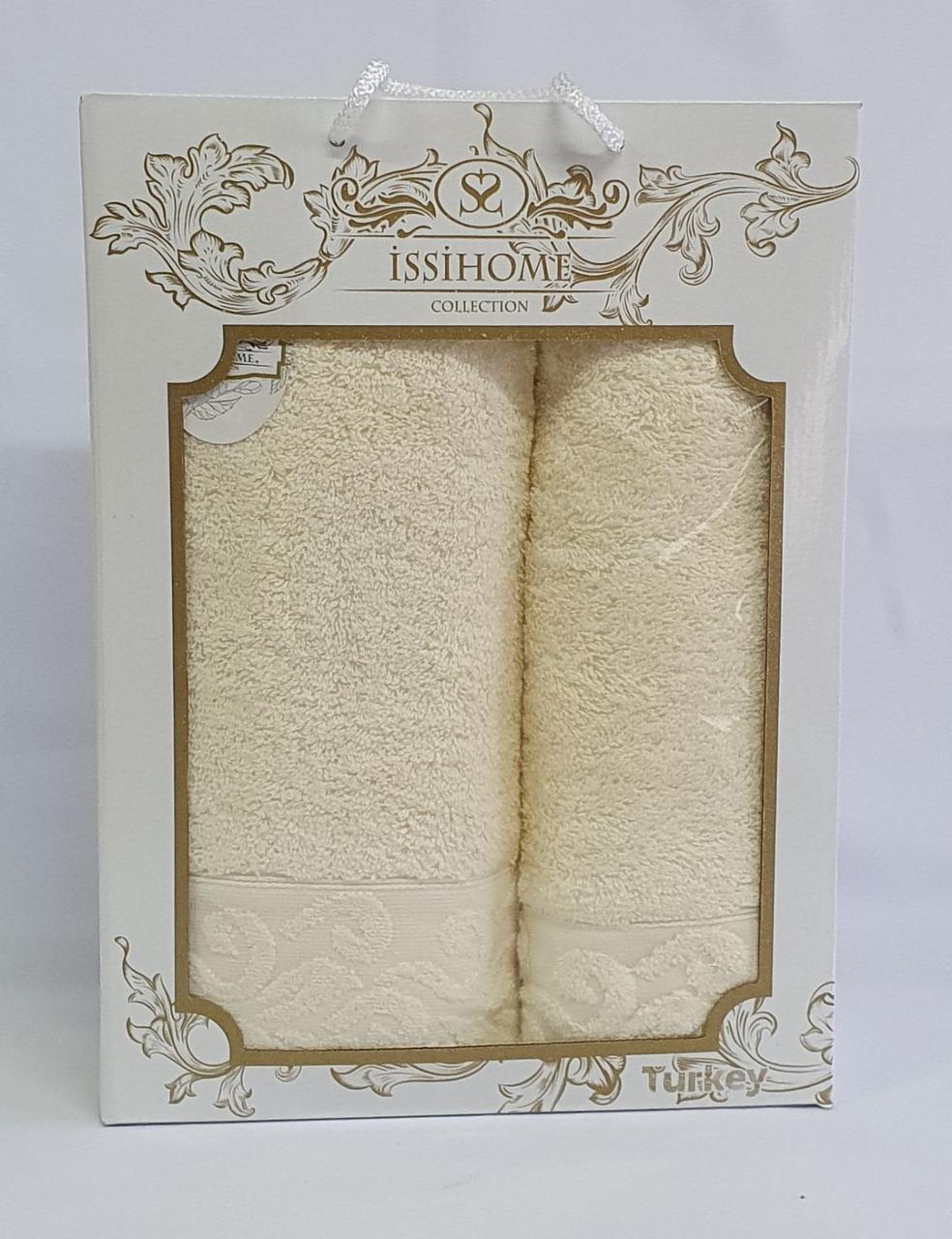Набор махровых полотенец Issihome узор молочный