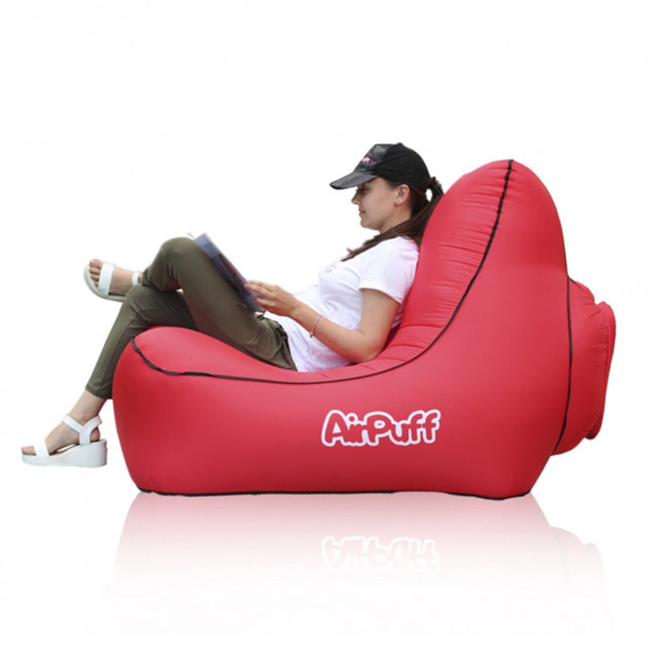 Надувное кресло лежак AirPuff для отдыха на природе и пляже (Red)