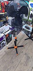"""Напольный вентилятор черный с оранжевым Euromax EU - 809 мелкая сетка 40W stand fan 16"""" 40W"""