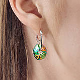 Комплект серебряных украшений  с эмалью ( Серьги , кольцо, подвеска ), фото 5
