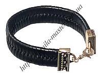 Браслет кожаный чёрный плоский плетёный L=200 мм