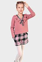 Стильный и практичный костюм из бомбера и шорт для девочки